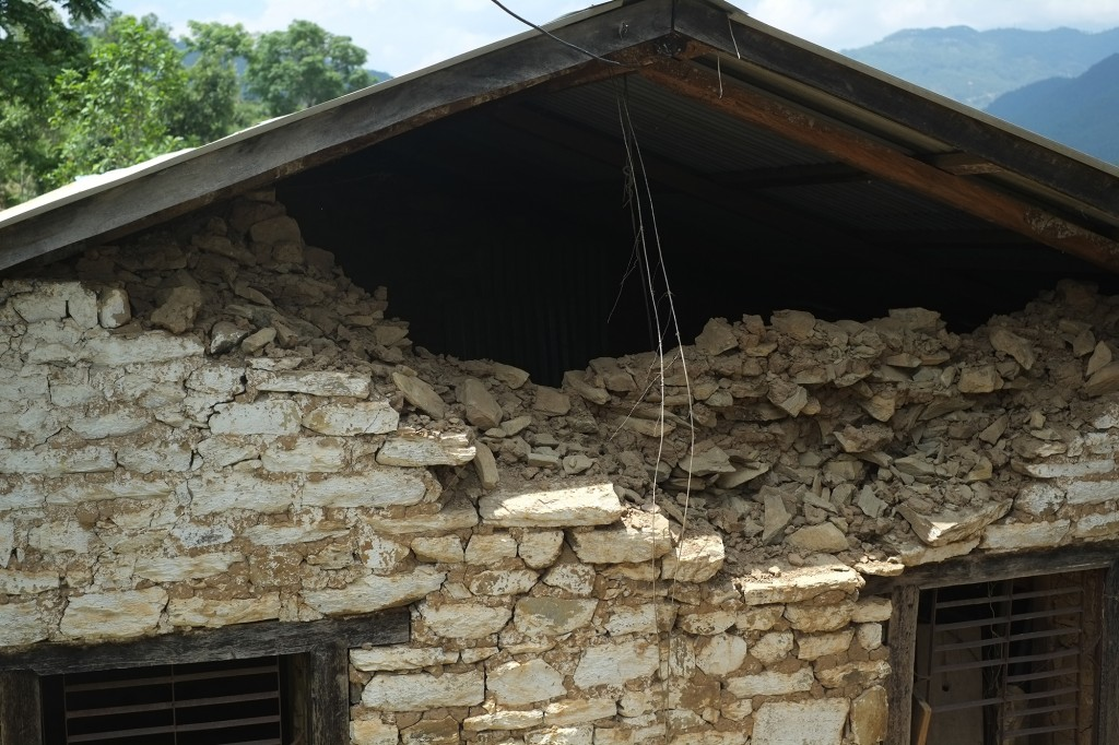 damaged wall of school roof