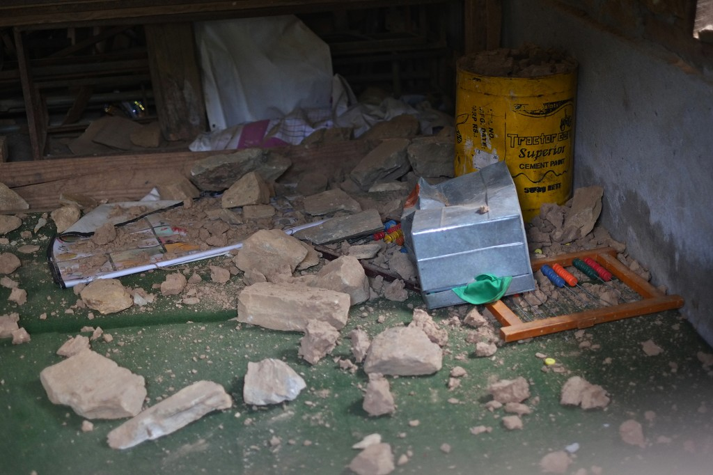 education materials inside classroom damaged by the earthquake