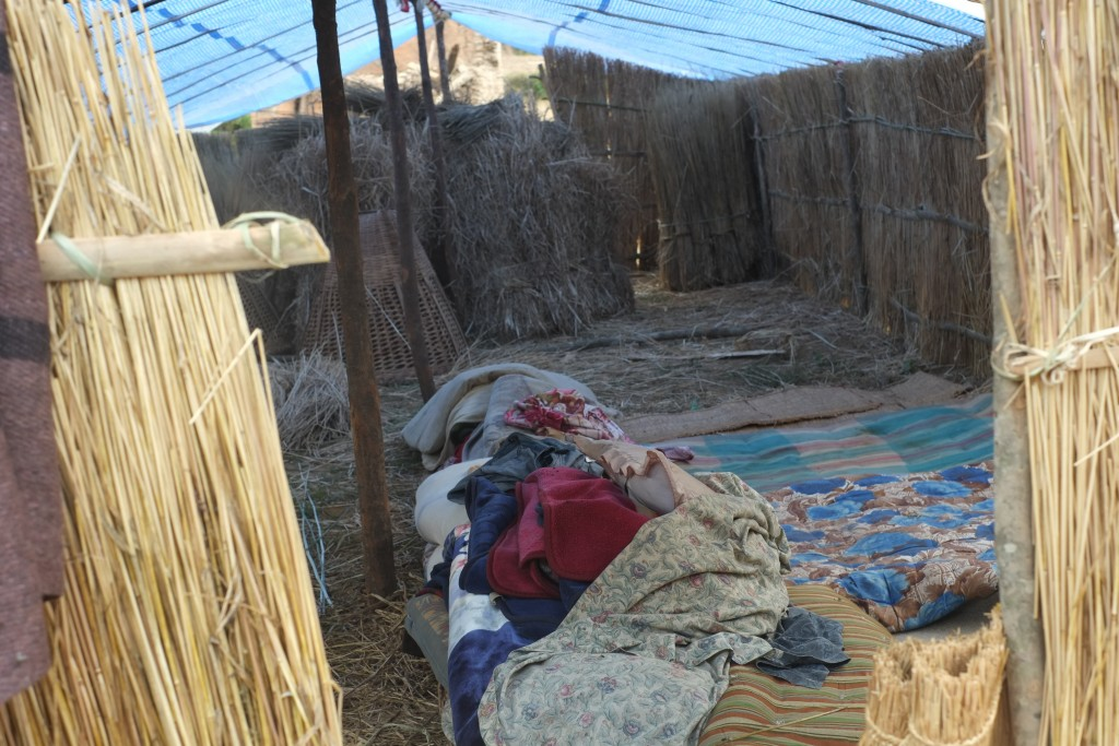 temporary housing built by locals