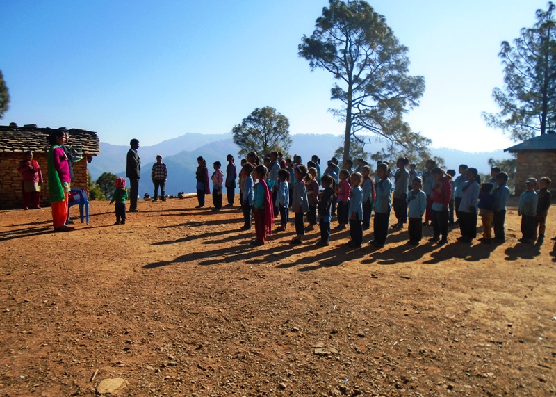 Morning Assembly at Gopanchal Primary School, Jhusil