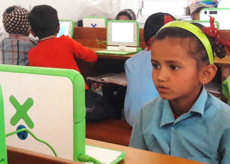 Students were will into their second month of E-Paati/laptop-integrated classes in this school
