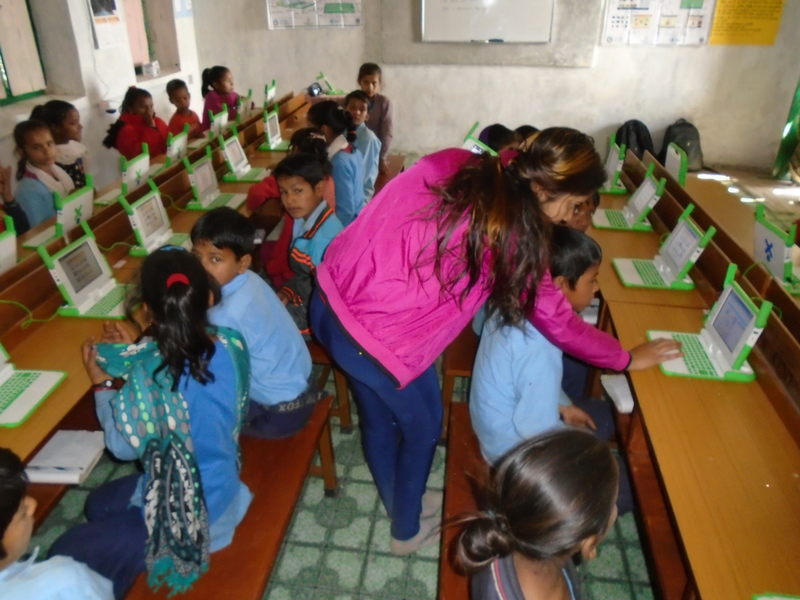 Shikha guiding the students at Janachetna Primary School